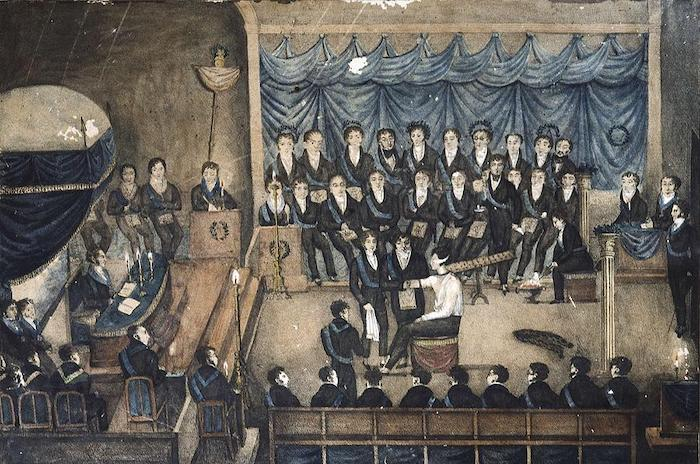 Masonic Initiation Ceremony of a lady Freemason, early 19th century (wc on paper) by French School