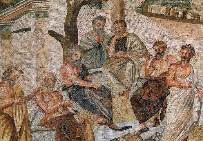 Plato surrounded by students in his Academy in Athens. Mosaic (detail) from the Villa of T. Siminius Stephanus, Pompeii, 1st century B.C. Roman National Archaeological Museum, Naples, Inv. No. 124545